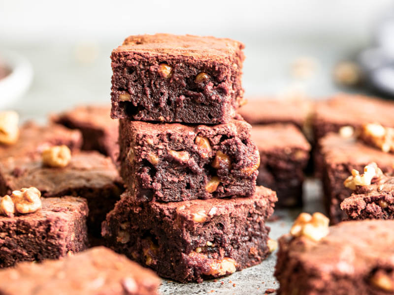 Plano de 90° de 3 brownies superpuestos