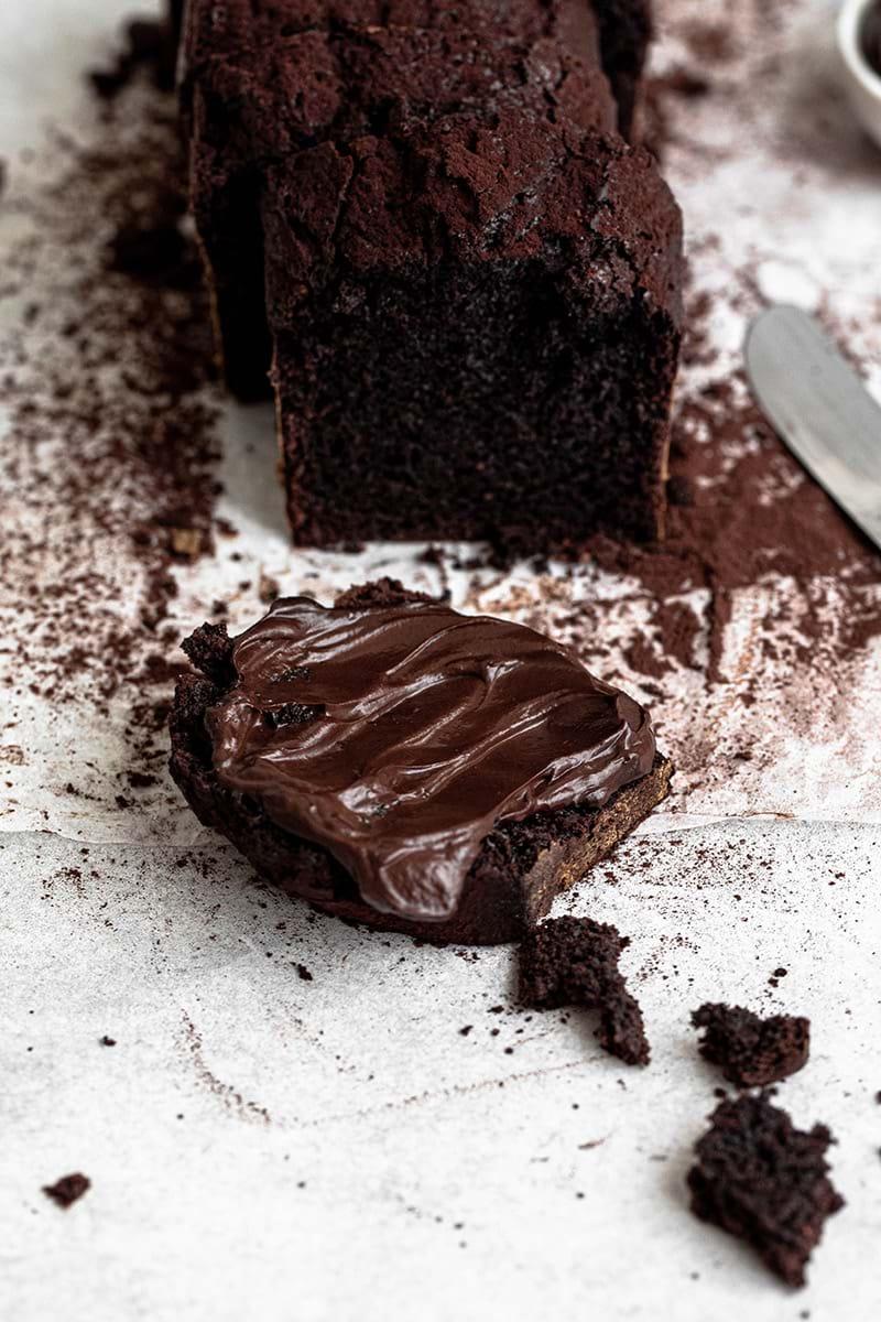 Plano de 45° del budín de chocolate