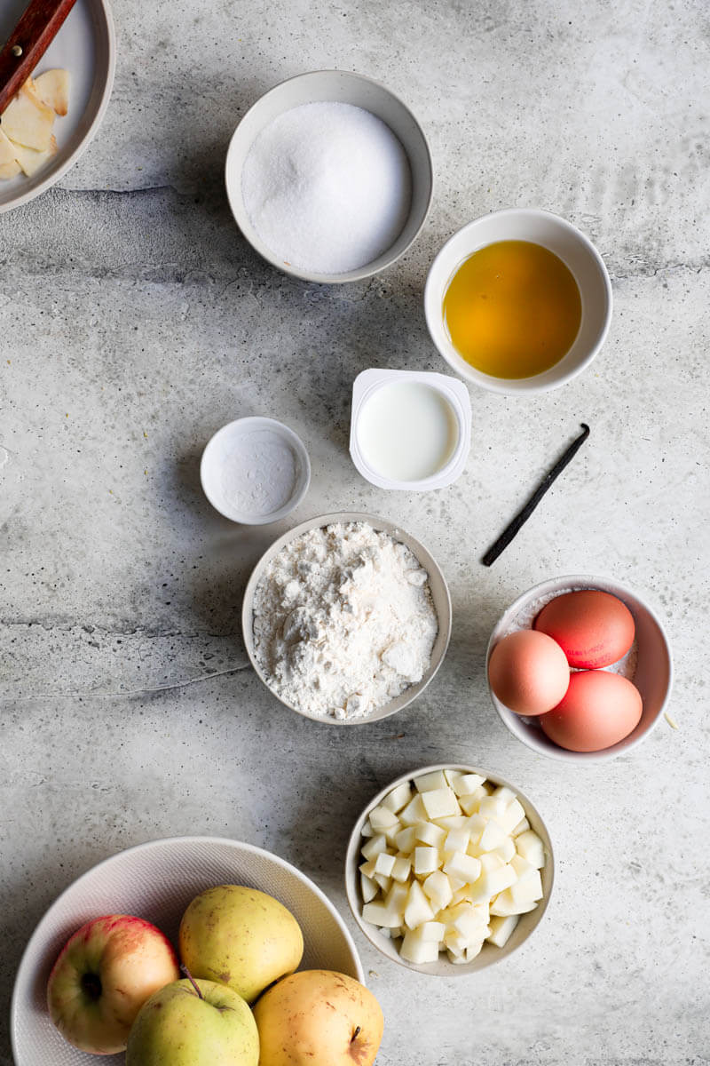 Overhead shot of the ingredients needed to bake the apple cake