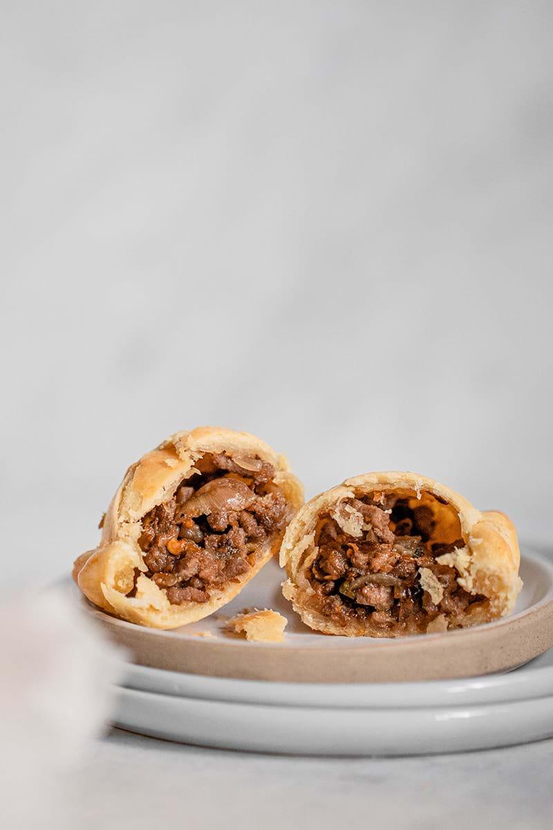 Beef empanada closeup shot