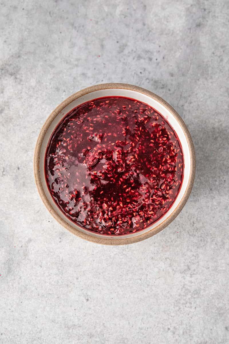 Overhead shot of the raspberry jam