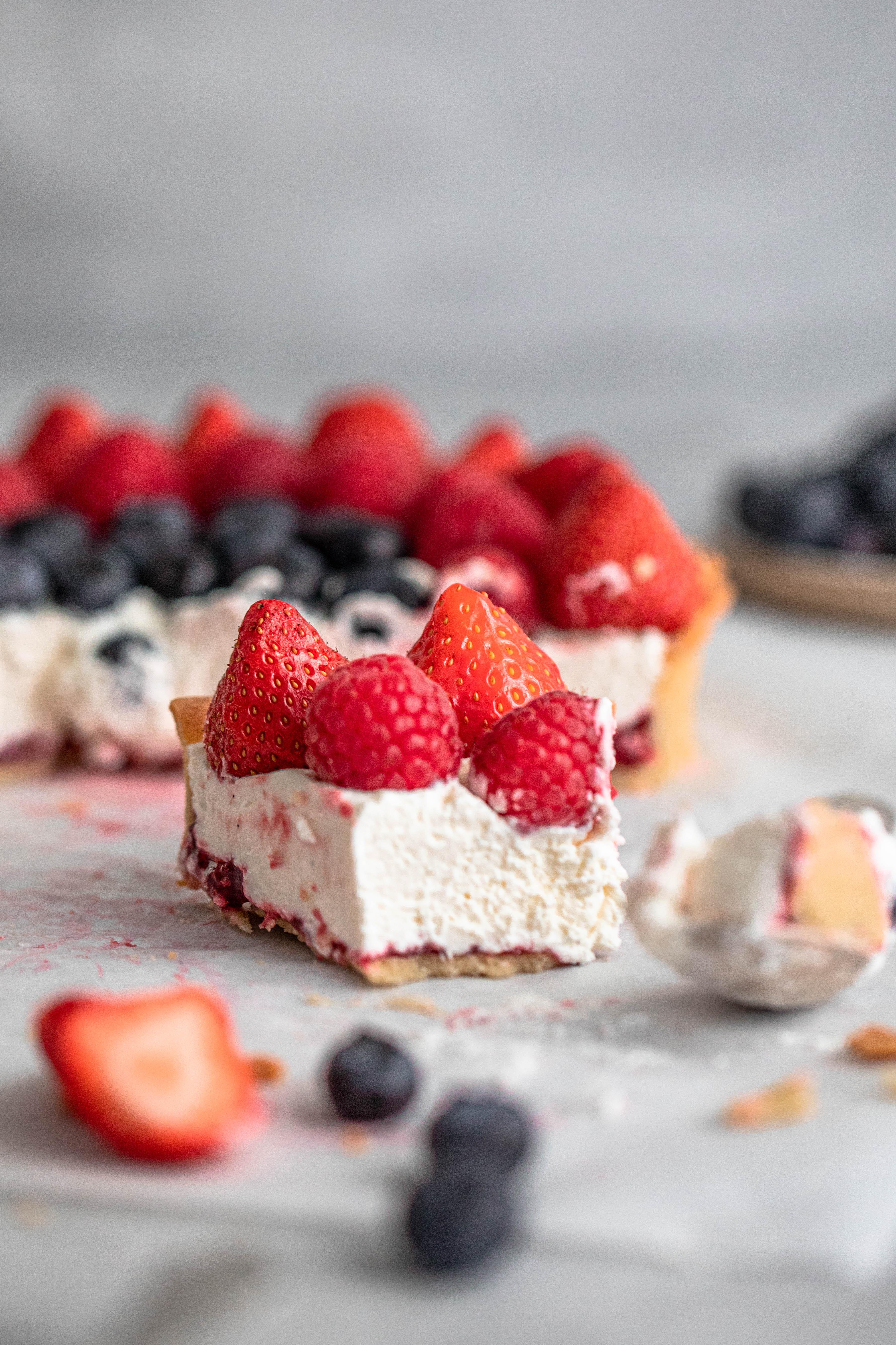 Closeup shot of one berry tart slice