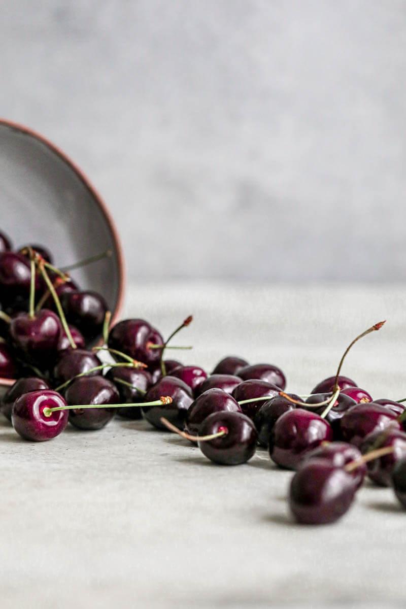 90° shot of fresh cherries