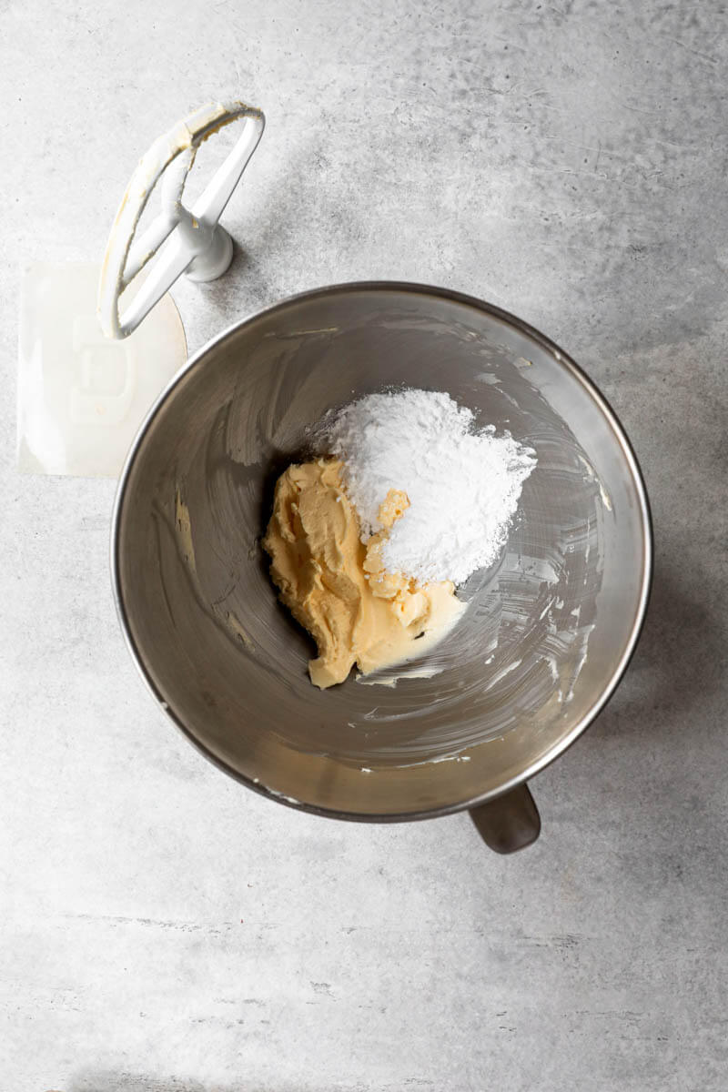 Overhead shot of bowl with the powdered sugar and the softened butter