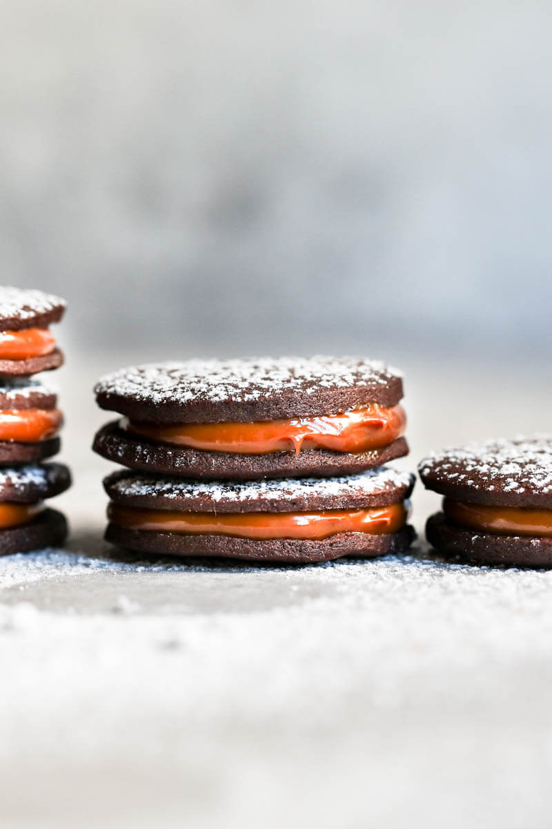 90° shot of a stack of chocolate alfajores