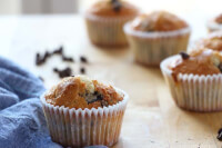 90° shot of one vanilla bean muffin with the resto f them blurry behind.