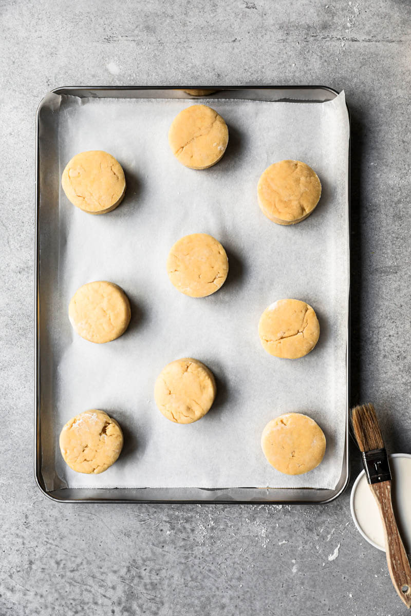 Scones on a baking tray