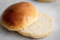 Close-up of a sliced hamburger bun