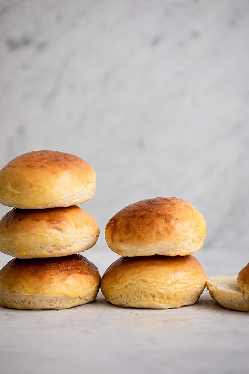 90 degree shot of baked hamburger buns
