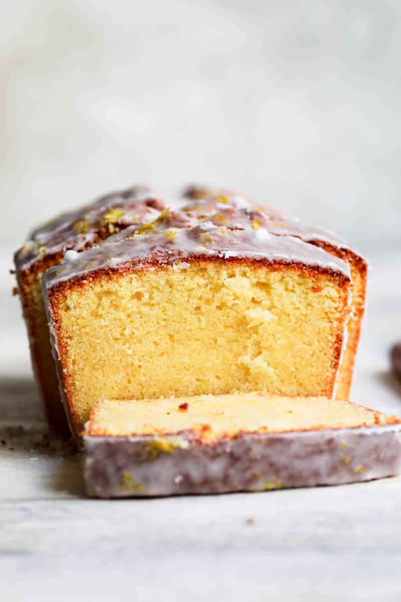 90° closeup shot of the sliced lemon cake