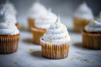 90° shot of the Lemon Meringue Cupcakes focusing on the one closest to the camera