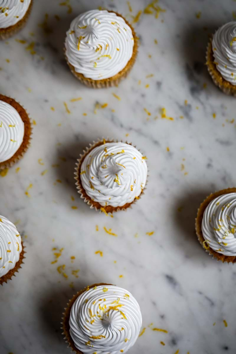 Overhead shot of the Lemon Meringue Cupcakes from far away
