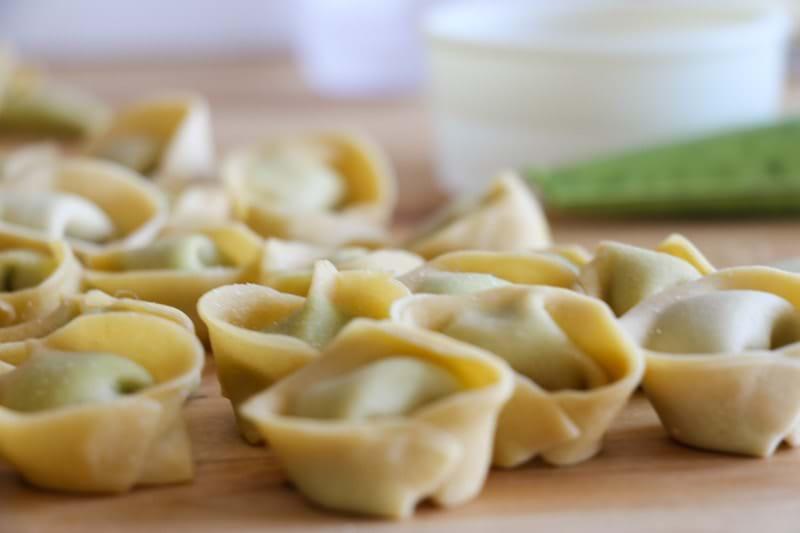 90° shot of the raw tortellini