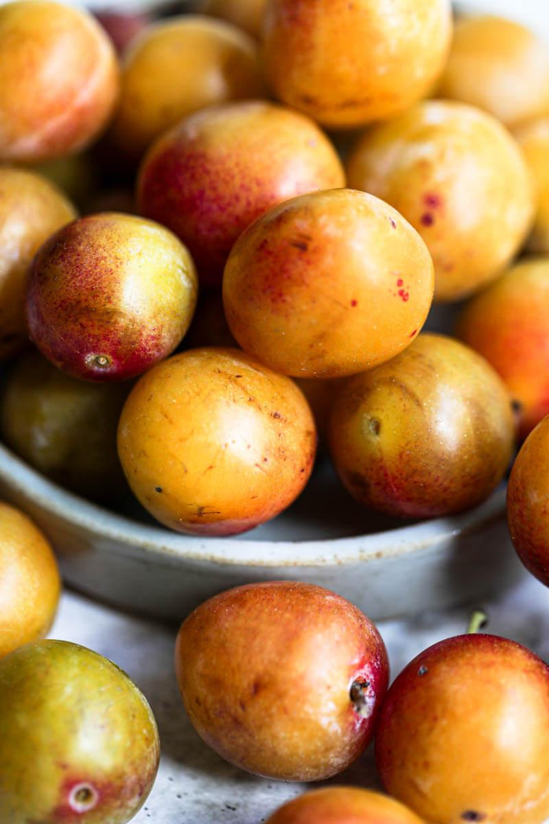 Macro shot of fresh Mirabelle plums