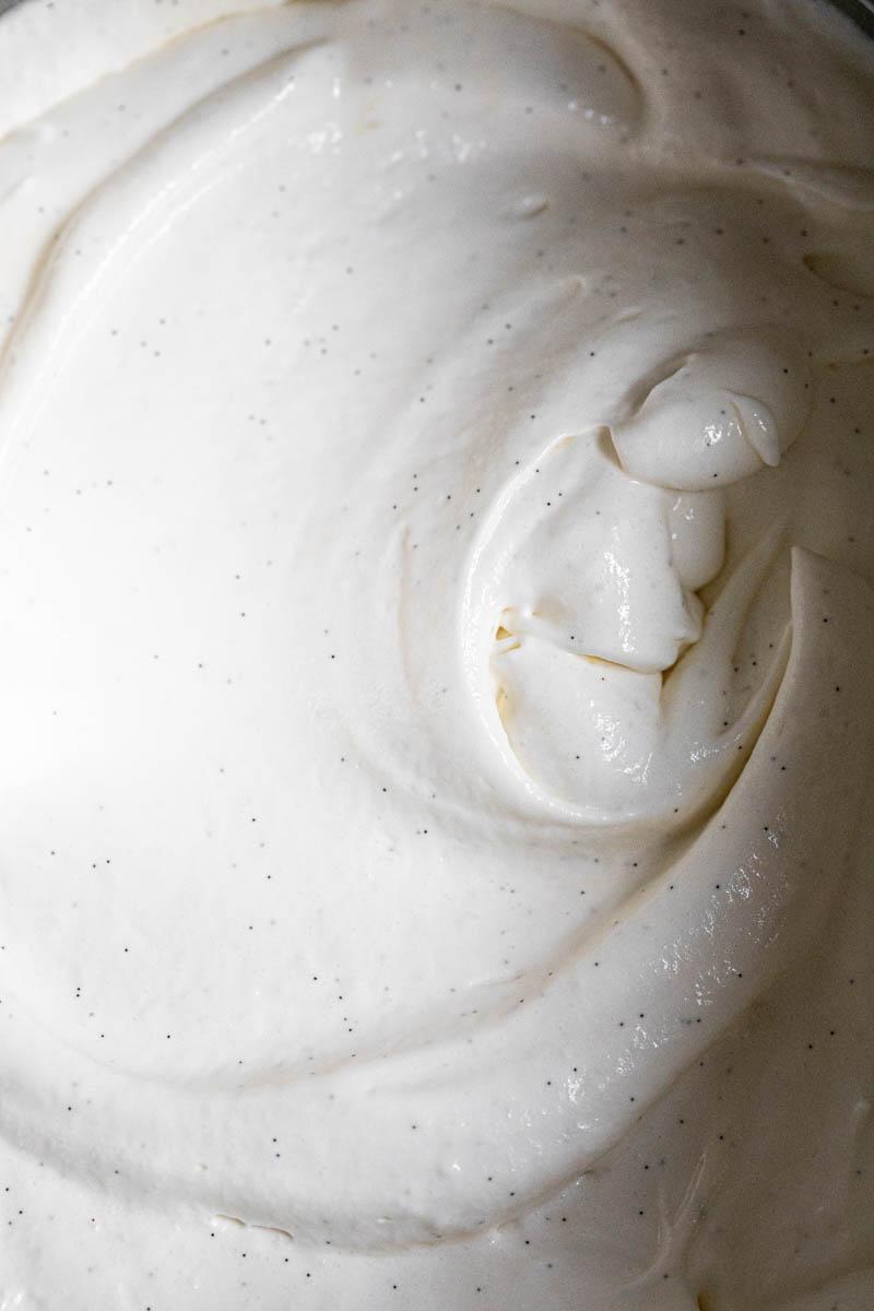 A macro close shot of the vanilla bean lemon no bake cheesecake filling ready.