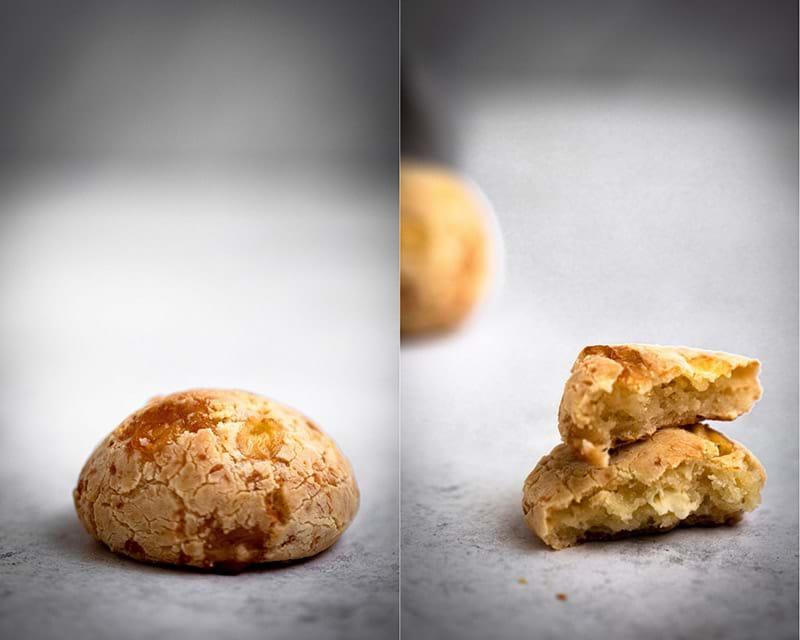 A collage of two pao de queijo photographs