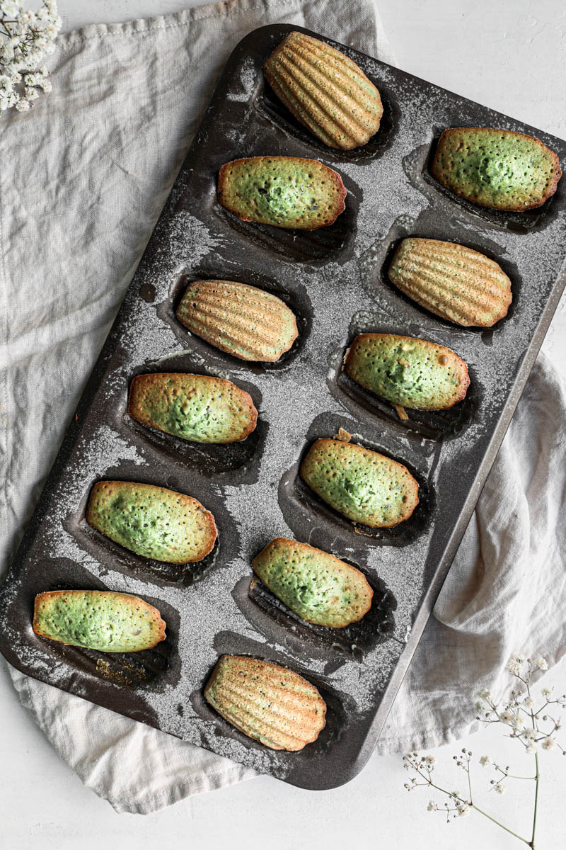 The baked pistachio madeleines inside the madeleine pan, turned 90 degrees as seen from above.