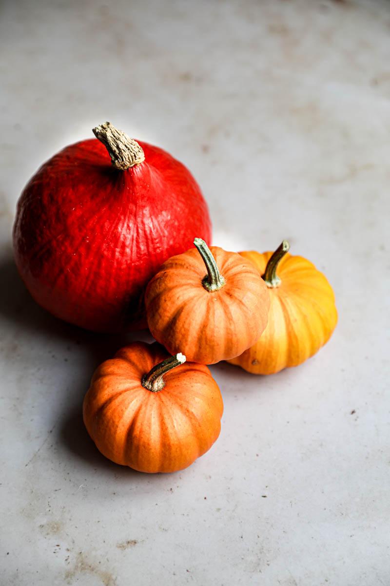 Portrait of 4 pumpkins.