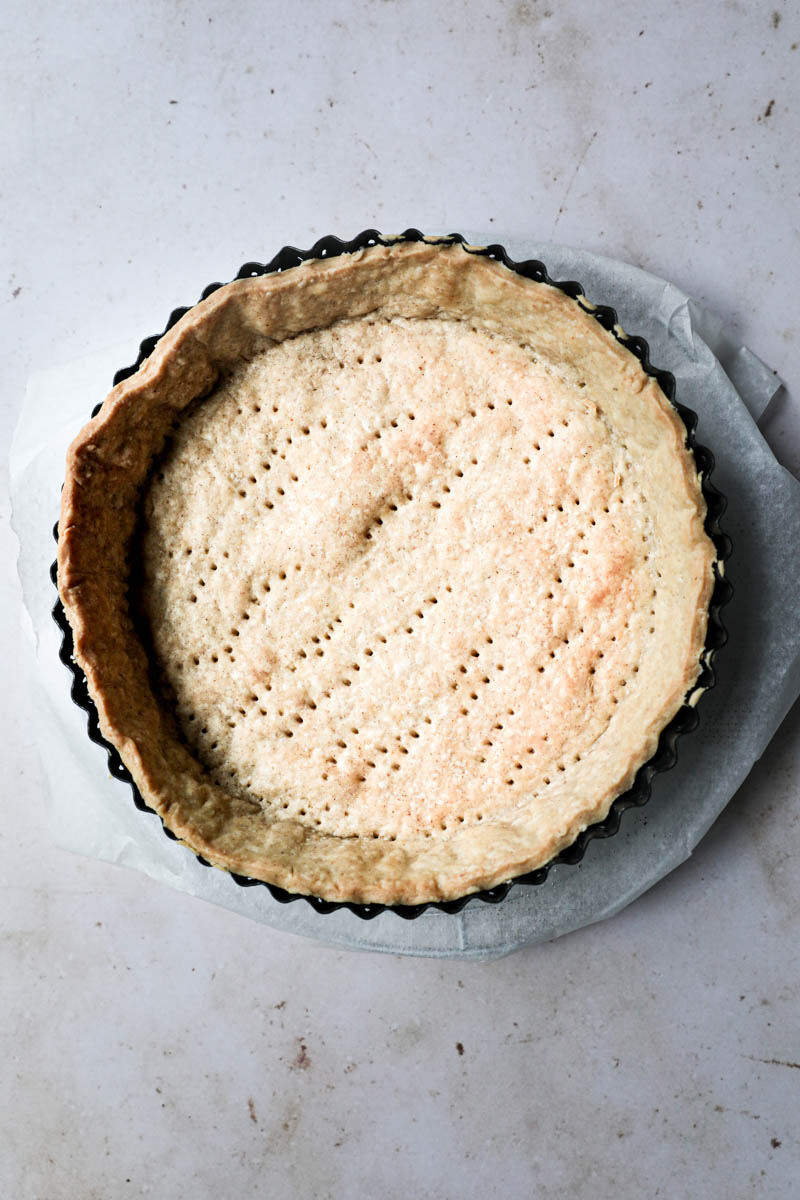 The quiche crust prebaked and ready to be filled.