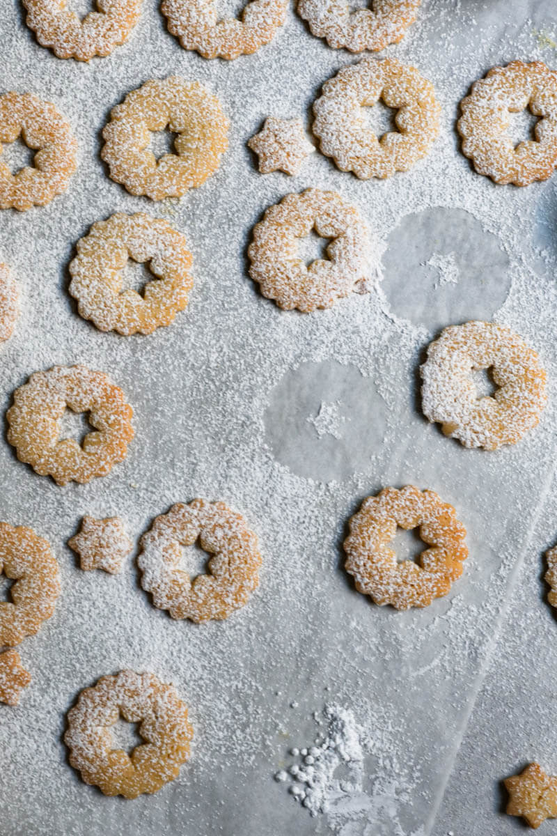 Cookie tops dusted with powdered sugar