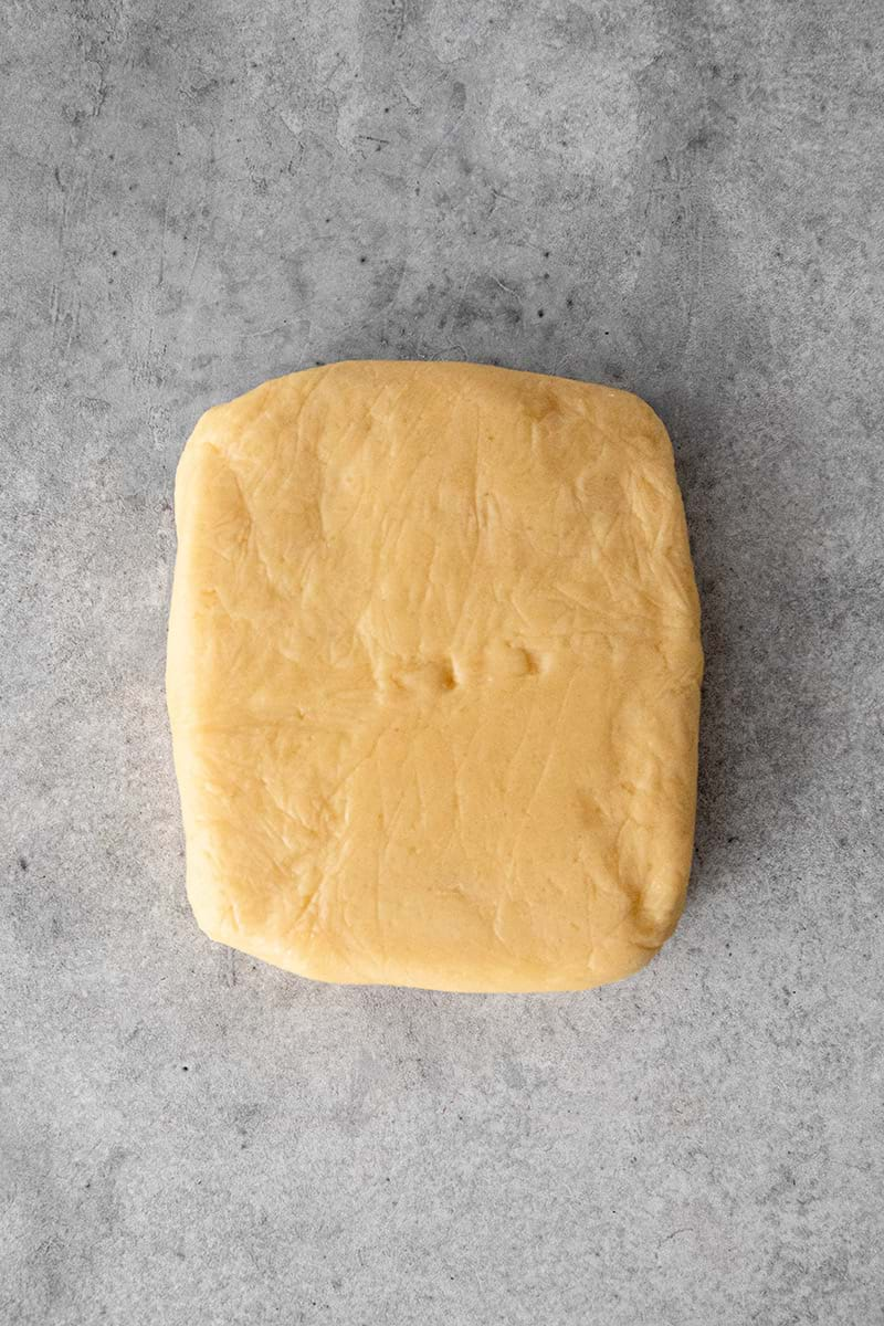 Chilled shortbread crust shaped as a rectangle
