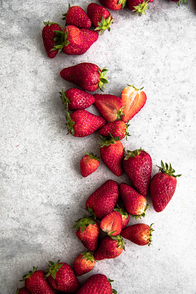Fresh strawberries for strawberry mousse.
