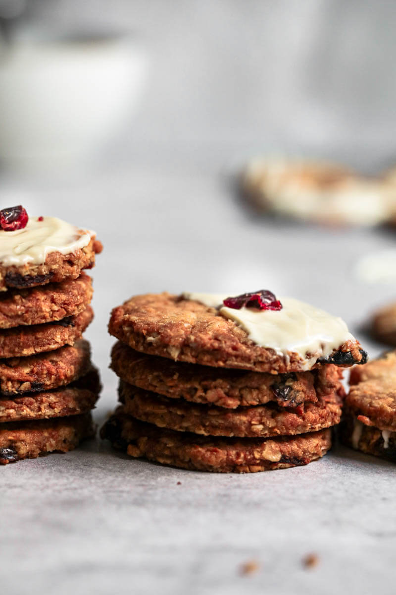 Stacked cranberry oatmeal cookies