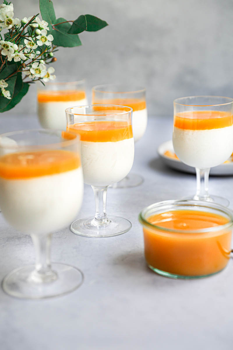 The chilled white chocolate mousses topped with the freshly made mango jelly.