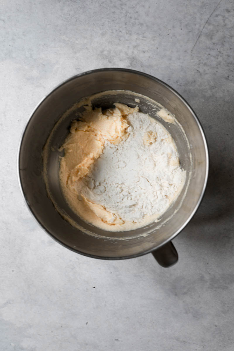 The cake batter in a bowl with the flour.